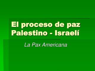 El proceso de paz Palestino - Israelí
