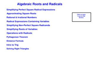 Algebraic Roots and Radicals