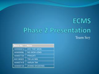ECMS   Phase 2 Presentation