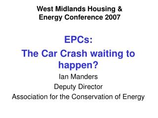 West Midlands Housing &  Energy Conference 2007