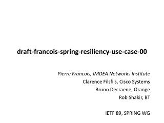 draft-francois-spring-resiliency-use-case-00