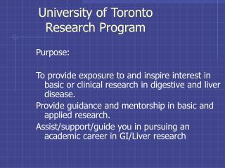 University of Toronto Research Program