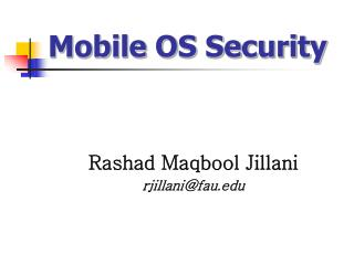 Mobile OS Security