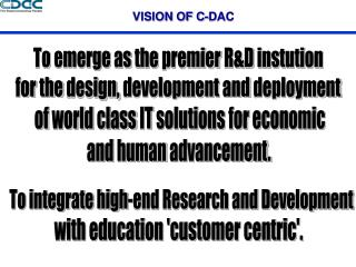 VISION OF C-DAC