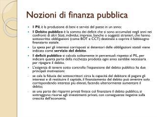 Nozioni di finanza pubblica