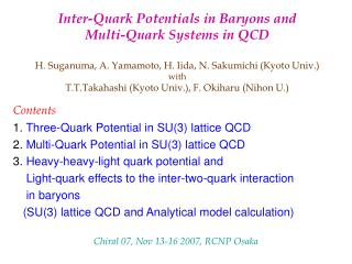 Inter-Quark Potentials in Baryons and  Multi-Quark Systems in QCD