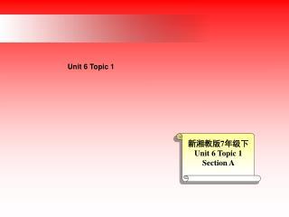 新湘教版 7 年级下 Unit 6 Topic 1 Section A