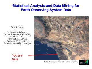 Statistical Analysis and Data Mining for Earth Observing System Data
