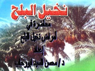 محاضرة في أمراض نخيل البلح إعداد د / محسن السيد ابورحاب