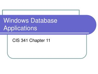 Windows Database Applications