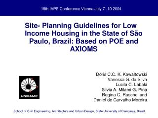 18th IAPS Conference Vienna July 7 -10 2004