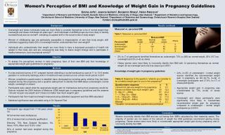 Women ' s Perception of BMI and Knowledge of Weight Gain in Pregnancy Guidelines