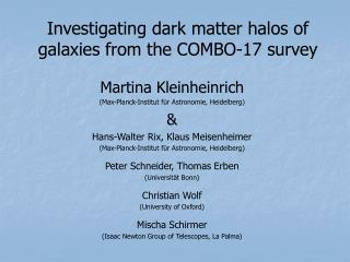 Investigating dark matter halos of galaxies from the COMBO-17 survey