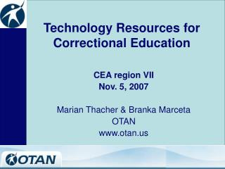 Technology Resources for Correctional Education