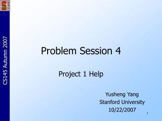 Problem Session 4