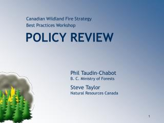 Canadian Wildland Fire Strategy          Best Practices Workshop POLICY REVIEW