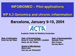 INFOBIOMED – Pilot applications WP 6.3 Genomics and chronic inflammation