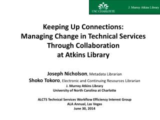 Joseph  Nicholson , Metadata  Librarian