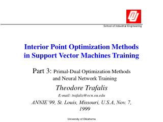 Interior Point Optimization Methods in Support Vector Machines Training