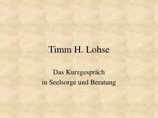 Timm H. Lohse