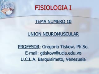 FISIOLOGIA I