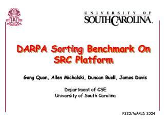 DARPA Sorting Benchmark On  SRC Platform
