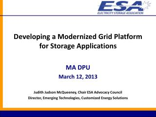 Developing a Modernized Grid Platform for Storage Applications