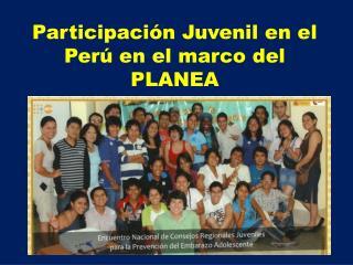 Participación Juvenil en el Perú en el marco del PLANEA