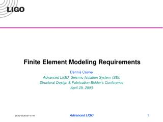 Finite Element Modeling Requirements