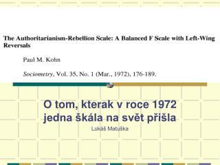 O tom, kterak v roce 1972 jedna škála na svět přišla Lukáš Matuška