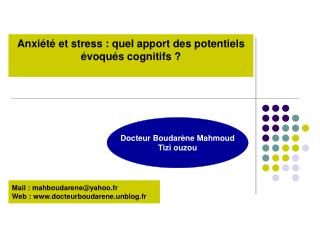 Anxi�t� et stress : quel apport des potentiels �voqu�s cognitifs ?