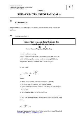 Jurusan Teknik Sipil Fakultas Teknik Sipil dan Perencanaan Universitas Mercu Buana MODUL 2