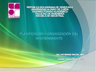 PLANIFICACIÓN Y ORGANIZACIÓN DEL MANTENIMIENTO