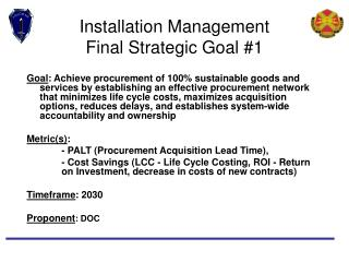 Installation Management  Final Strategic Goal #1
