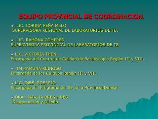 EQUIPO PROVINCIAL DE COORDINACION.