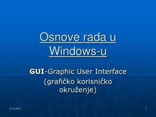 Osnove rada u Windows-u