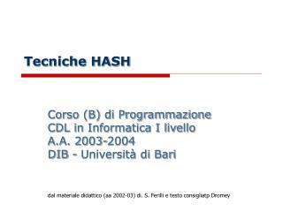 Tecniche HASH