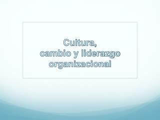 Cultura,  cambio y liderazgo organizacional