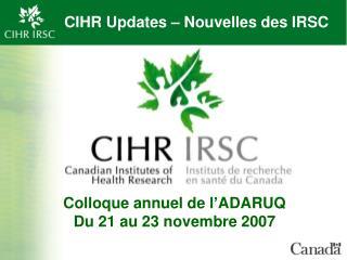 CIHR Updates � Nouvelles des IRSC