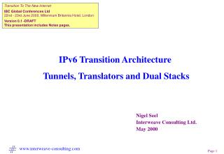 IPv6 Transition Architecture  Tunnels, Translators and Dual Stacks
