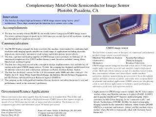 Complementary Metal-Oxide Semiconductor Image Sensor Photobit, Pasadena, CA