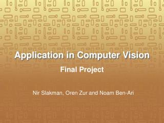 Application in Computer Vision