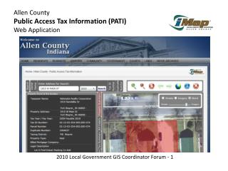 Allen County Public Access Tax Information (PATI) Web Application