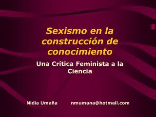 Sexismo en la construcci n de conocimiento