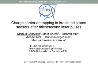 Charge carrier  detrapping  in irradiated silicon sensors after microsecond laser pulses