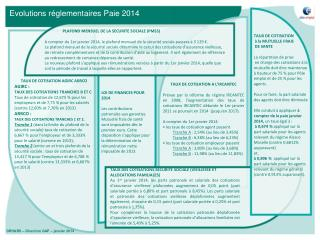 Evolutions r�glementaires Paie 2014