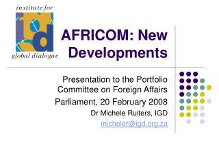 AFRICOM: New Developments