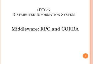 1DT057 Distributed Information System