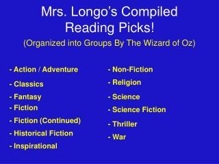 Mrs. Longo s Compiled Reading Picks