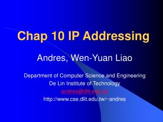 Chap 10 IP Addressing